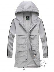 Drawstring Hooded Side Stripe Zip Up Polyester Coat - GRAY XL