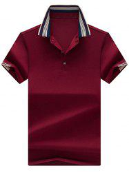 Half Button Striped Collar Golf Shirt