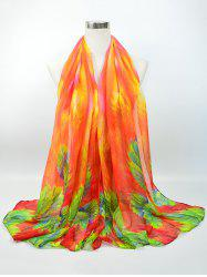 Voile Vintage Blossom Pattern Gossamer Scarf - BRIGHT ORANGE