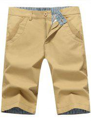 Zip Fly Back Pockets Bermuda Shorts - KHAKI 40