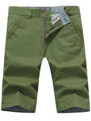 Zip Fly Back Pockets Bermuda Shorts - ARMY GREEN 36