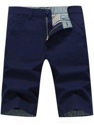 Zip Fly Back Pockets Bermuda Shorts - Bleu Foncé 34
