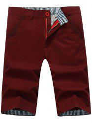 Zip Fly Back Pockets Bermuda Shorts - WINE RED 40