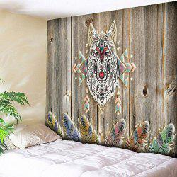 Wood Grain Wall Hanging Wolf Printed Tapestry