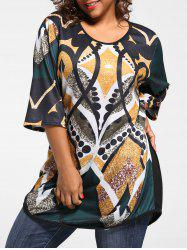 Plus Size Print Tunic Knit Top -