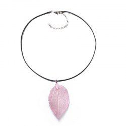 PU Leather Rope Metal Leaf Necklace