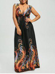 Paisley Plus Size Plunge V Neck Bohemian Maxi Dress