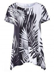 Casual Leaf Print Plus Size Asymmetric Tee