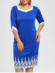Plus Size Patched Knee Length Fitted Dress