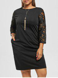 Plus Size Lace Trim Knee Length Dress