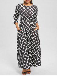 Maxi Checked Belted Dress for Plus Size - Noir