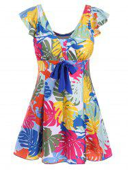 Printed Underwire Padded Plus Size Swimdress
