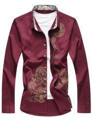 Dragon Printed Button Up Casual Shirt