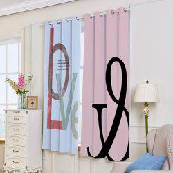 2 Panels Love Letter Print Blackout Window Curtains - COLORMIX W53 INCH * L63 INCH