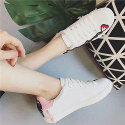 Embroidery Round Toe Faux Leather Sneakers
