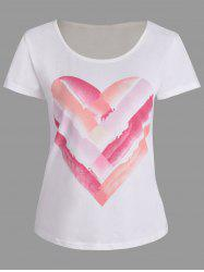Short Sleeve Heart Ombre Print T Shirt
