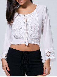 Tassel Drawstring Crop Lace Trim Blouse