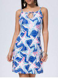 Mini Star Print Slip Summer Dress - BLUE