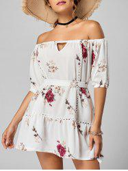 Off The Shoulder Floral Drop Waist Dress - WHITE M