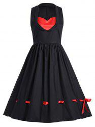 Vintage Sweetheart Neck Color Block Dress