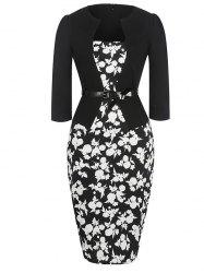 Mid Length Floral Pencil Dress - BLACK
