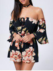 Floral Off The Shoulder Bell Sleeve Romper - BLACK