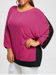 Plus Size Two Tone Batwing Sleeve Top