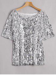 Plus Size Glitter Sequined T-shirt