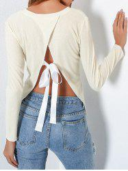 Split Back Backless Bowknot Tie Ribbed Blouse