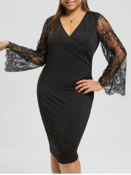 Plus Size Flare Sleeve Pencil Dress