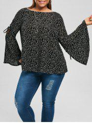 Plus Size Lace Up Bell Sleeve Blouse