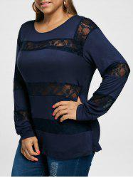 Plus Size Lace Insert Long Sleeve Tee
