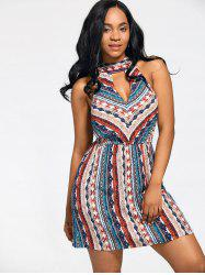 Bohemian Print Elastic Waist Sleeveless Dress