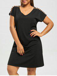 Stripy Short Sleeve Plus Size Straight Dress
