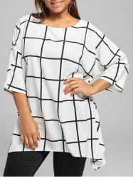 Asymmetric Plus Size Checked Tunic Top