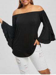 Plus Size Flare Sleeve Off The Shoulder Top