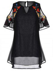 Embroidery Chiffon Plus Size Open Shoulder Top