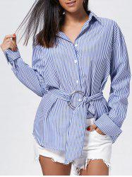 Oversized Button Up Striped Shirt