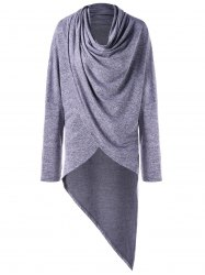 Cowl Neck Overlap Asymmetrical Top