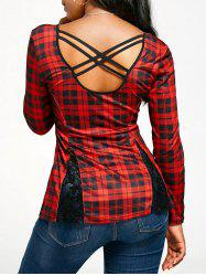 Criss Cross Back Long Sleeve Tartan T-shirt
