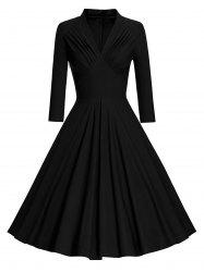 Pleated Long Sleeve Vintage Pinup Dress - BLACK