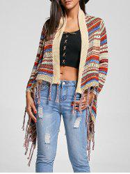 Open Front Asymmetric Fringe Cardigan - MULTI ONE SIZE