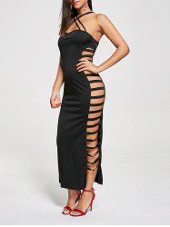 Backless Criss Cross Cut Out Robe Maxi Club - Noir M