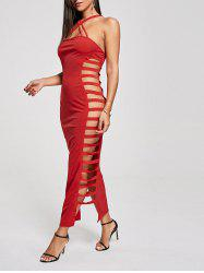 Backless Criss Cross Cut Out Maxi Club Dress - RED M