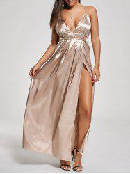 Backless Metallic High Slit Evening Formal Dress - KHAKI M