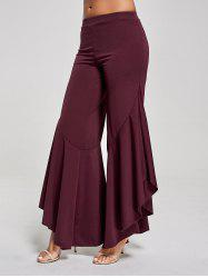 Flounce Panel High Waist Palazzo Pants - Rouge vineux  XL