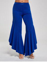 Flounce Panel High Waist Palazzo Pants - BLUE XL