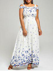 Floral Print Cold Shoulder Plus Size Maxi Dress