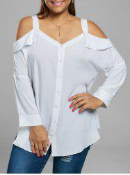 Plus Size Button Up Drop Shoulder Blouse - WHITE