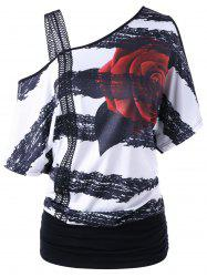 Skew Neck Floral Print Tee - BLACK WHITE
